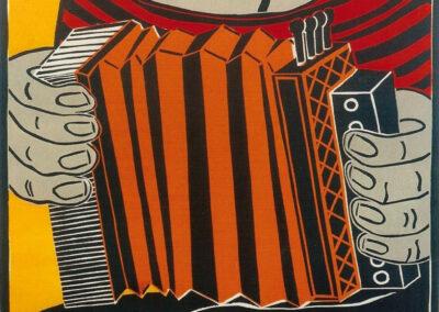 Hilda Boer - Trekzakspeler - 2000 - linosnede op papier 1 van 6 - 100 x 70 cm