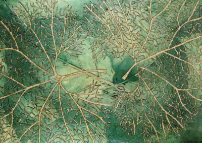 Katja Berkenbosch - natuurbeleving - groot hoefblad - 2016 - papierkunst - 50 x 75 cm