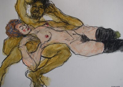 Sook Bae - Hommage aan Aegon Schiele - 2013 - krijt en potlood op papier - 40 x 50 cm