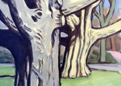 Alex de Wolf - Boomstudie # 1 - 2018 - acryl op doek - 50 x 40 cm