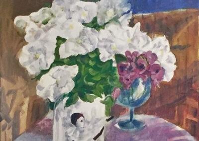 Alison Korthals Altes - Pierrot met witte bloemen - 2018 - olieverf op doek - 30 x52 cm