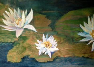 Cora Mulder - Lelies - 2005 - acryl op hout - 50-70 cm