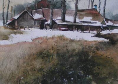 Joke Plomp - Boerderij in de sneeuw - aquarel - 27x27 cm