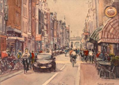 Joke Plomp - Haarlemmerdijk Amsterdam - aquarel - 18 x 18 cm