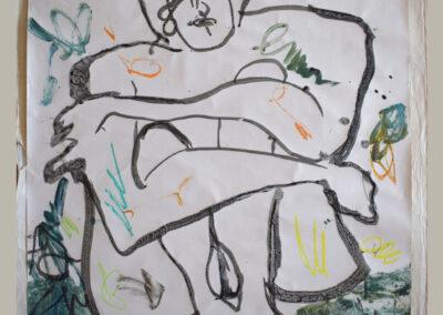 Patty van Hoften - z.t. - acryl en krijt op behangpapier - 70 x 60 cm