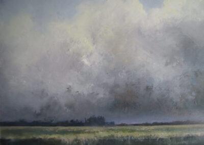 Sjoerdtje Hak - Buienlucht boven Friesland - 2019 - olieverf op doek - 70 x 80 cm