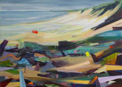 Tjits van der Kooij - Vakantie aan zee - 2018 - acryl op katoen - 80 x 100 cm