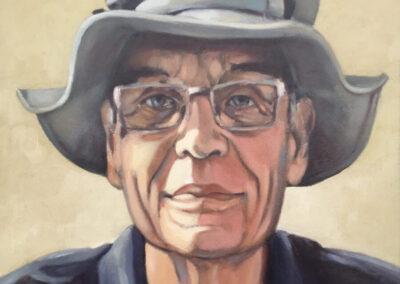 Herman Deen - Portret van Pieter - olieverf op paneel - 28 x 23 cm