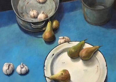Herman Deen - Stilleven met peren en knoflook - 2019 - acryl op paneel - 42 x 47 cm