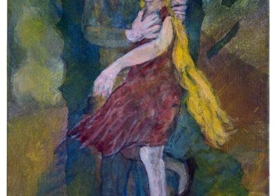 Diane Lekkerkerker - Danser dans la nuit - 2020 - acryl op doek - 24 x 18 cm