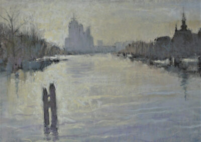 Ruud Ritsma - Amstel met Rembrandttoren - 2016 - pastel - 40 x 50 cm