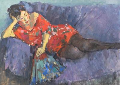 Ruud Ritsma - Vrouw met waaier - 2011 - olieverf - 50 x 70 cm