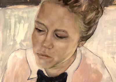 Chantal van Houten - Zelfportret - Bow Tie - 2019 - olieverf op clayboard - 30 x 30 cm.