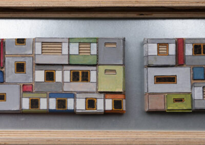 Erik timmermans - Platte-Art-XXII - 2019 - acrylverf - pen en (golf)karton op doek - 1 maal 10 x 10 en 1 maal 10 x 20 cm