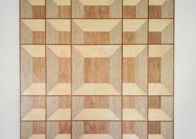 Hanneke Rijks - Grid - 2018 - Berkenmultiplex en fineer - 52 x 52 x 2 cm.