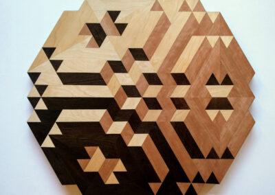 Hanneke Rijks - Plus - 2019 - Fineer op multiplex - 74 x 72 x 3 cm.