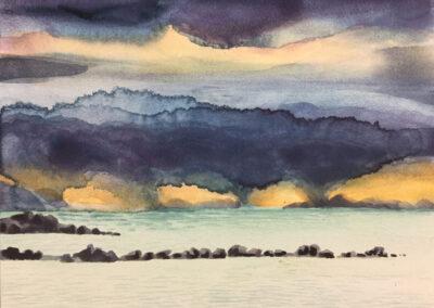 SannekeGriepink - Snow above sea - Iceland - 2019 - aquarel op board - 13 x 18 cm