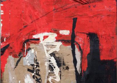 Anneke Hohmann - Rood - Acryl, collage, oostindische inkt - 85 x 90 cm