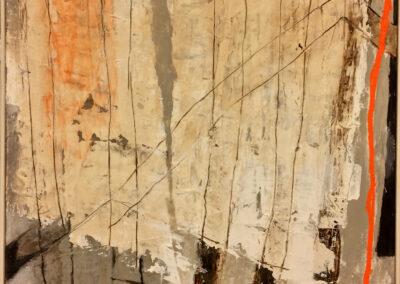 Anneke Hohmann - Vakwerk-muur - 2019 - Acryl, collage, bister, montage gisp - 85 x 90 cm