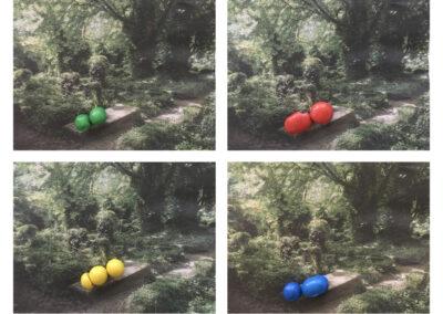 ynke Vissia - Landschapisme - 2021 - fotografie - collage van krantenfoto's en M&M's - Canvas Platine Art print